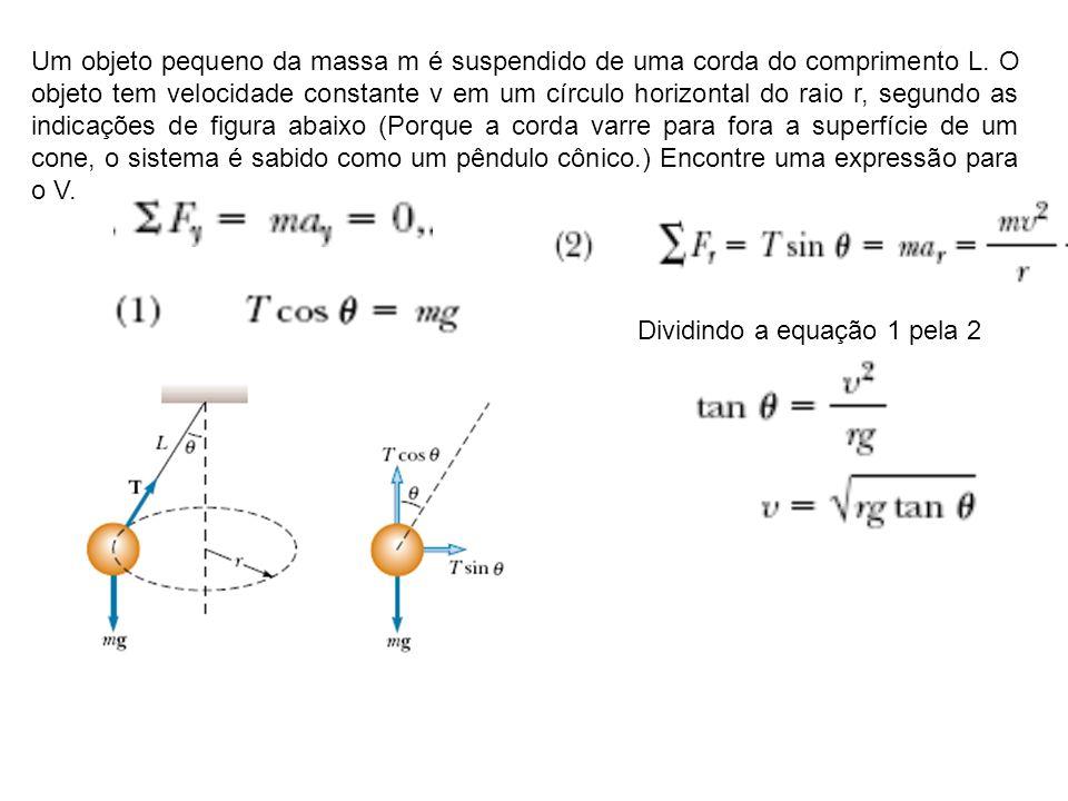 Um objeto pequeno da massa m é suspendido de uma corda do comprimento L. O objeto tem velocidade constante v em um círculo horizontal do raio r, segun