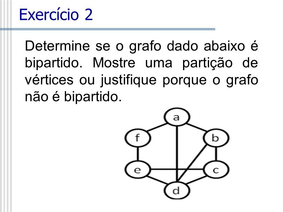 Determine se o grafo dado abaixo é bipartido.
