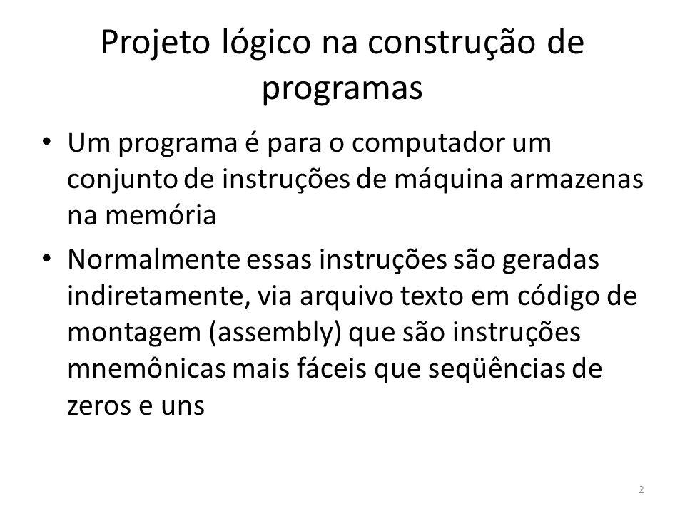 Projeto lógico na construção de programas Um programa é para o computador um conjunto de instruções de máquina armazenas na memória Normalmente essas instruções são geradas indiretamente, via arquivo texto em código de montagem (assembly) que são instruções mnemônicas mais fáceis que seqüências de zeros e uns 2