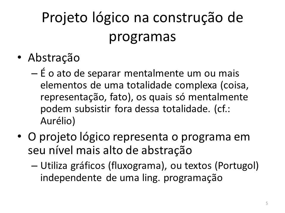 Projeto lógico na construção de programas Abstração – É o ato de separar mentalmente um ou mais elementos de uma totalidade complexa (coisa, representação, fato), os quais só mentalmente podem subsistir fora dessa totalidade.