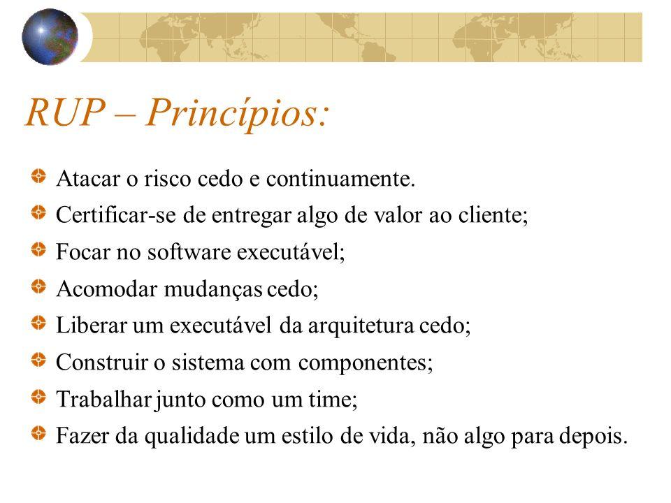 RUP – Princípios: Atacar o risco cedo e continuamente. Certificar-se de entregar algo de valor ao cliente; Focar no software executável; Acomodar muda