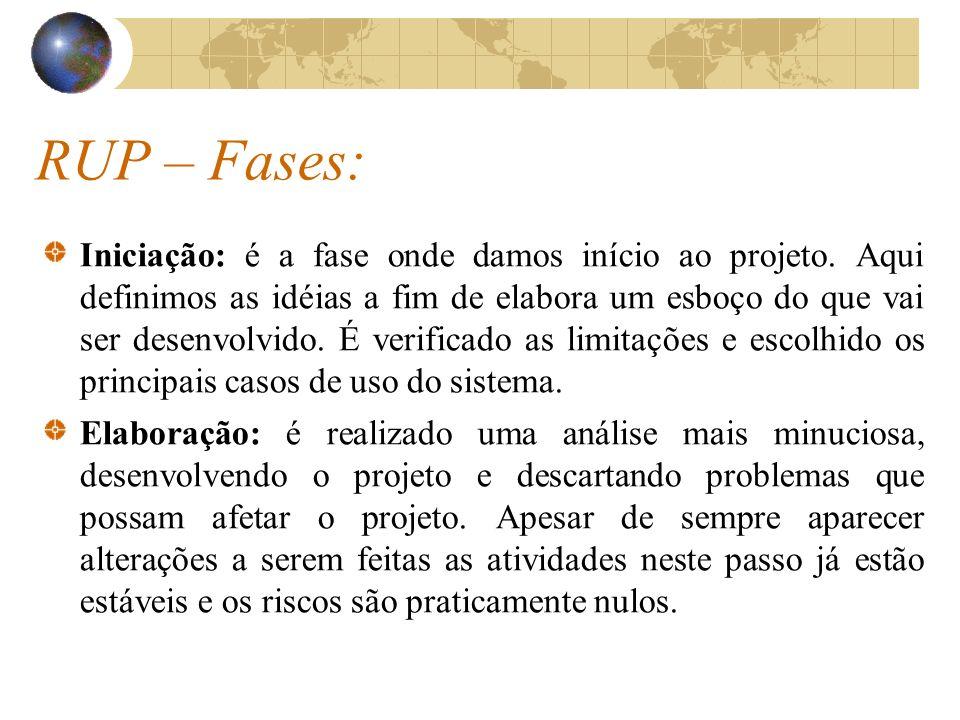 RUP – Fases: Construção: Aqui é a parte do desenvolvimento do projeto, baseado de maneira iterativa e incremental.