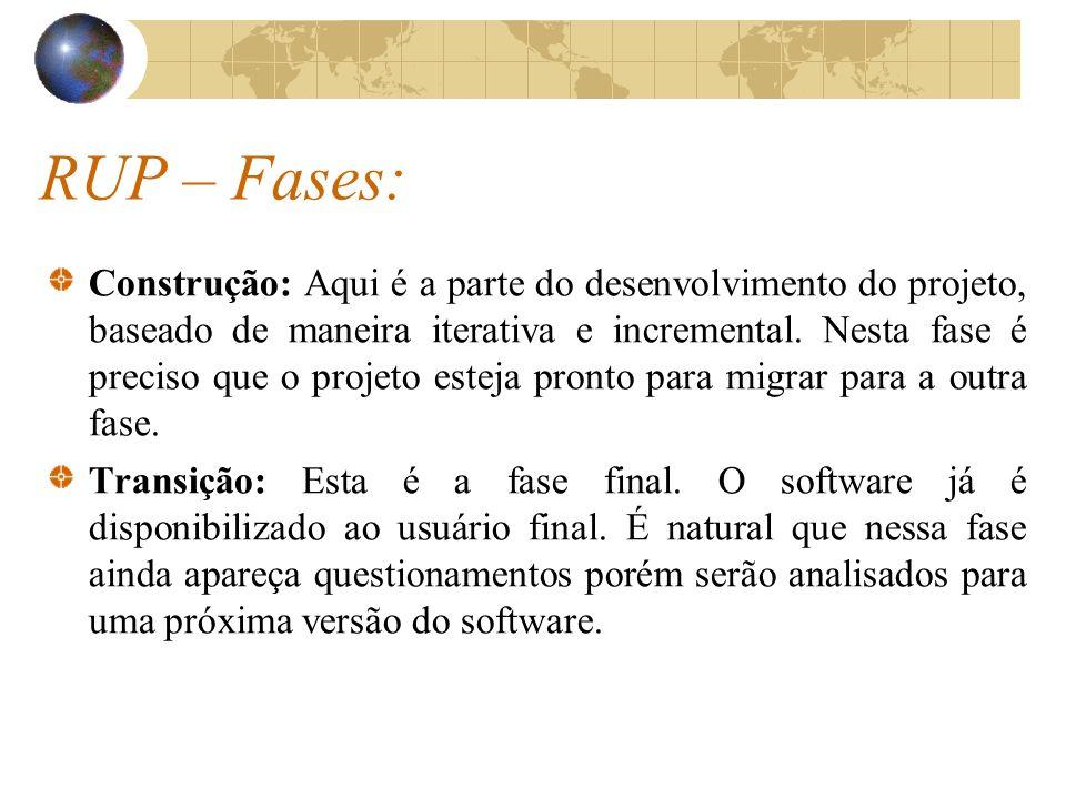 RUP – Fases: Construção: Aqui é a parte do desenvolvimento do projeto, baseado de maneira iterativa e incremental. Nesta fase é preciso que o projeto