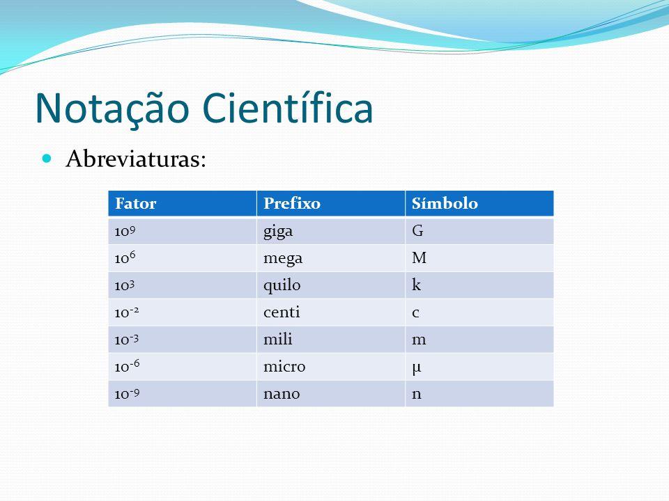 Notação Científica FatorPrefixoSímbolo 10 9 gigaG 10 6 megaM 10 3 quilok 10 -2 centic 10 -3 milim 10 -6 microµ 10 -9 nanon Abreviaturas: