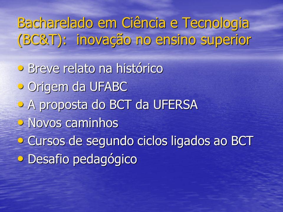 Bacharelado em Ciência e Tecnologia (BC&T): inovação no ensino superior Breve relato na histórico Breve relato na histórico Origem da UFABC Origem da