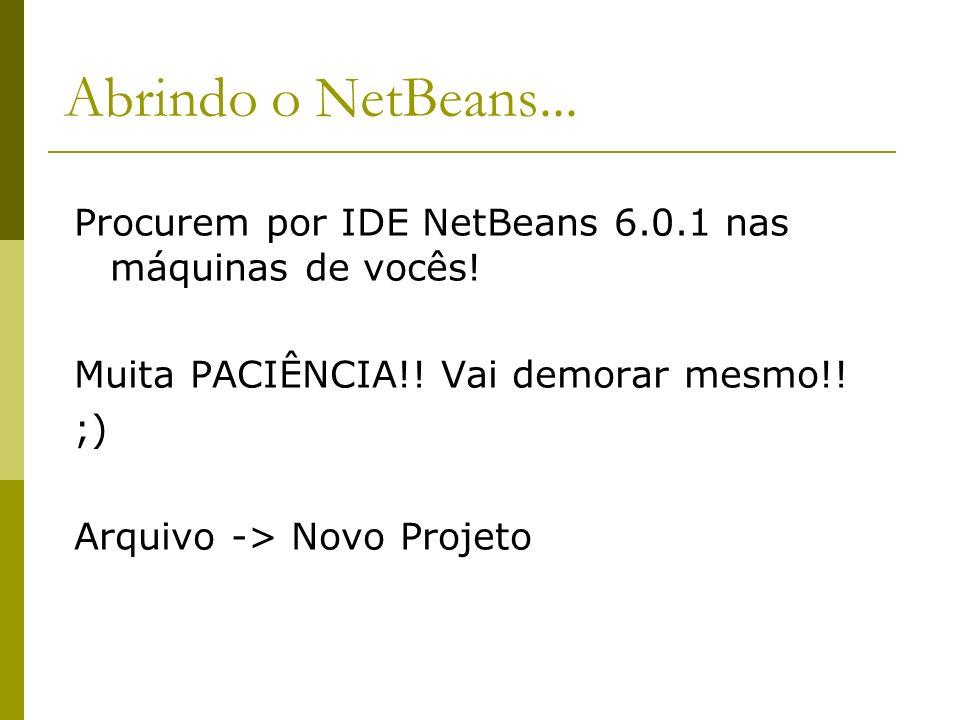 Abrindo o NetBeans... Procurem por IDE NetBeans 6.0.1 nas máquinas de vocês! Muita PACIÊNCIA!! Vai demorar mesmo!! ;) Arquivo -> Novo Projeto