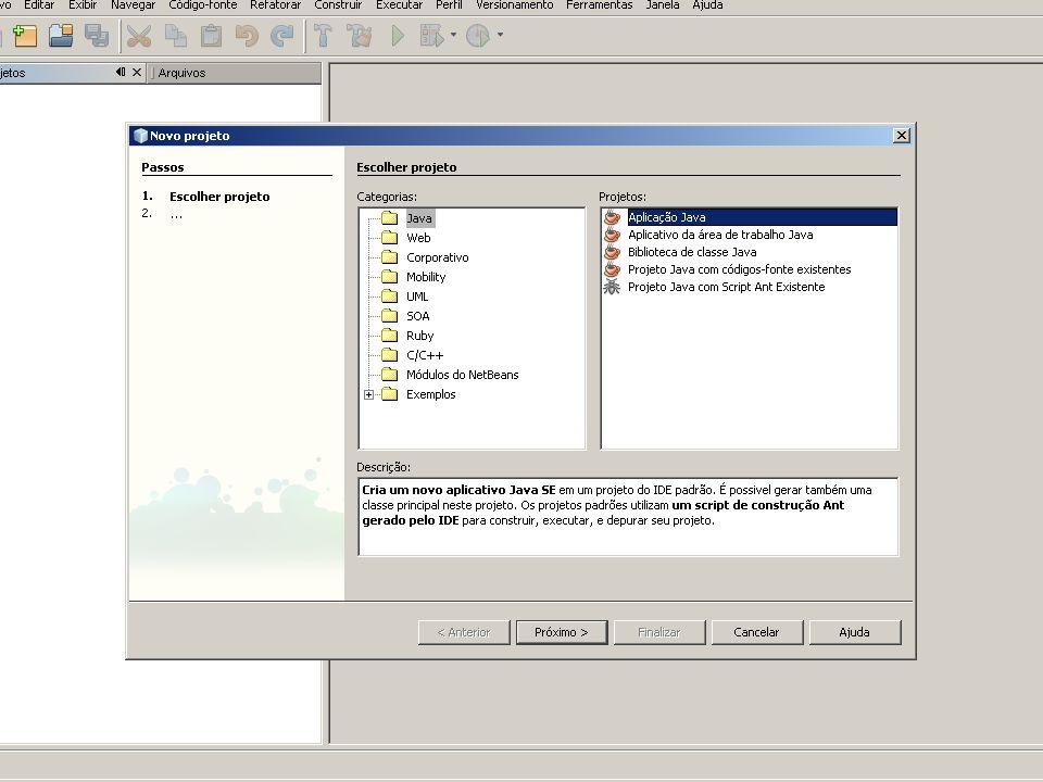 Abrindo o NetBeans Defina o nome do seu projeto: Curso Arquivo -> Novo Arquivo