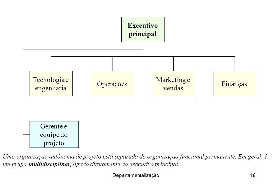 Departamentalização18 Uma organização autônoma de projeto está separada da organização funcional permanente. Em geral, é um grupo multidisciplinar, li