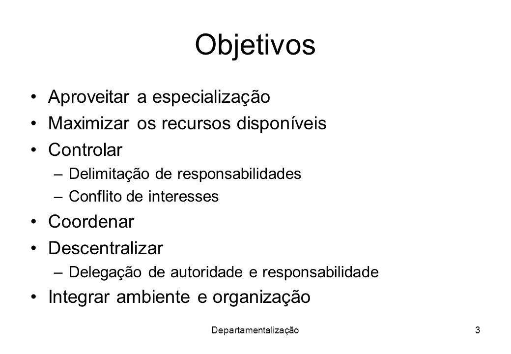 Departamentalização3 Objetivos Aproveitar a especialização Maximizar os recursos disponíveis Controlar –Delimitação de responsabilidades –Conflito de