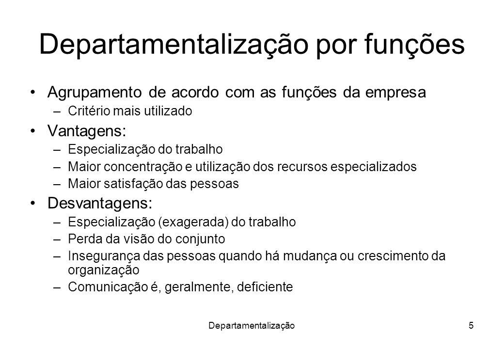 Departamentalização6 Critério funcional de organização.