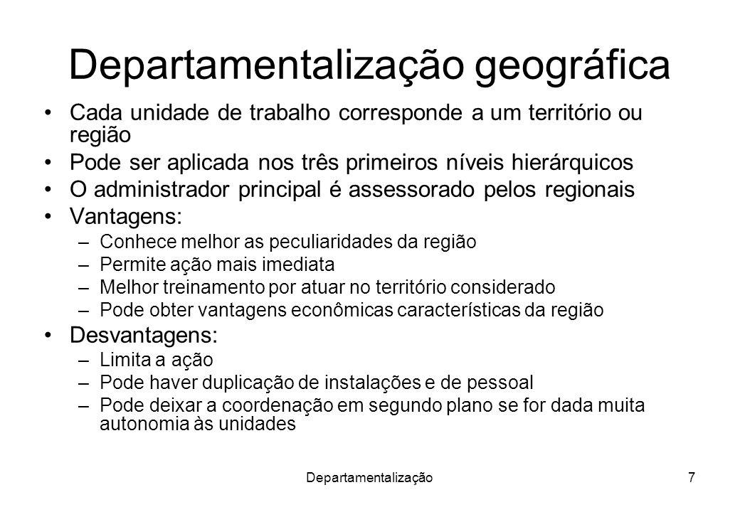 Departamentalização7 Departamentalização geográfica Cada unidade de trabalho corresponde a um território ou região Pode ser aplicada nos três primeiro