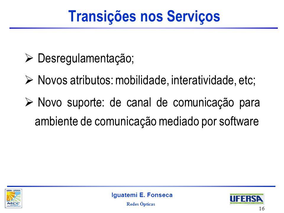 Redes Ópticas Iguatemi E. Fonseca 16 Transições nos Serviços Desregulamentação; Novos atributos: mobilidade, interatividade, etc; Novo suporte: de can