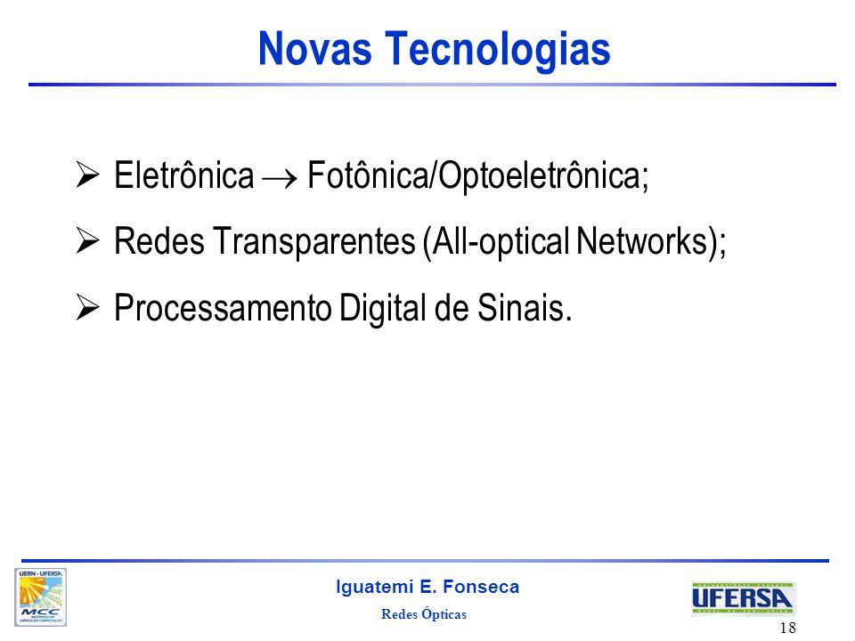 Redes Ópticas Iguatemi E. Fonseca 18 Novas Tecnologias Eletrônica Fotônica/Optoeletrônica; Redes Transparentes (All-optical Networks); Processamento D