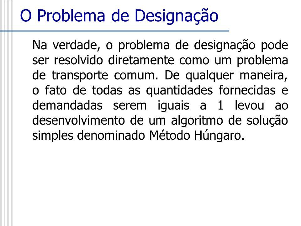 O Problema de Designação Na verdade, o problema de designação pode ser resolvido diretamente como um problema de transporte comum. De qualquer maneira