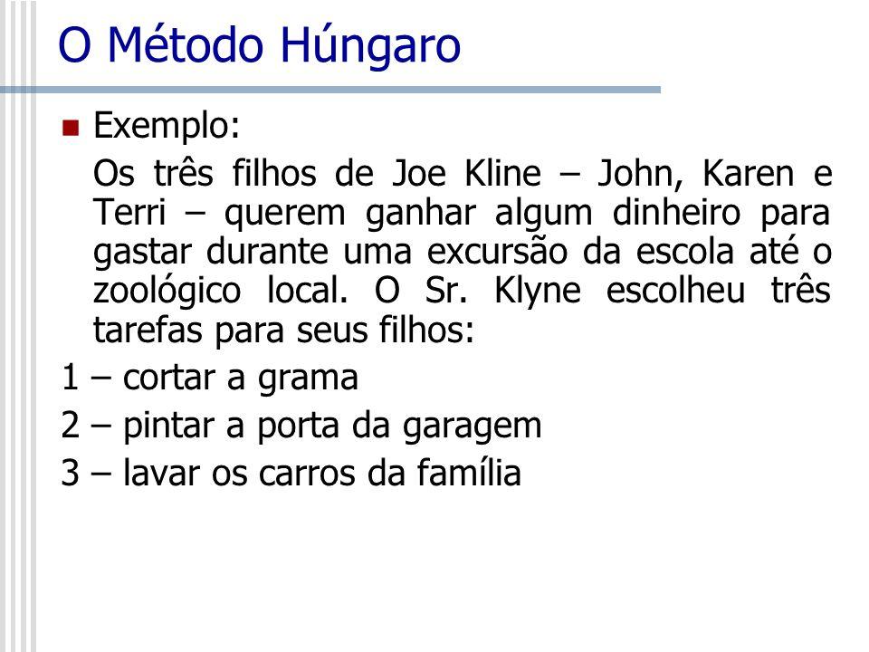 O Método Húngaro Exemplo: Os três filhos de Joe Kline – John, Karen e Terri – querem ganhar algum dinheiro para gastar durante uma excursão da escola