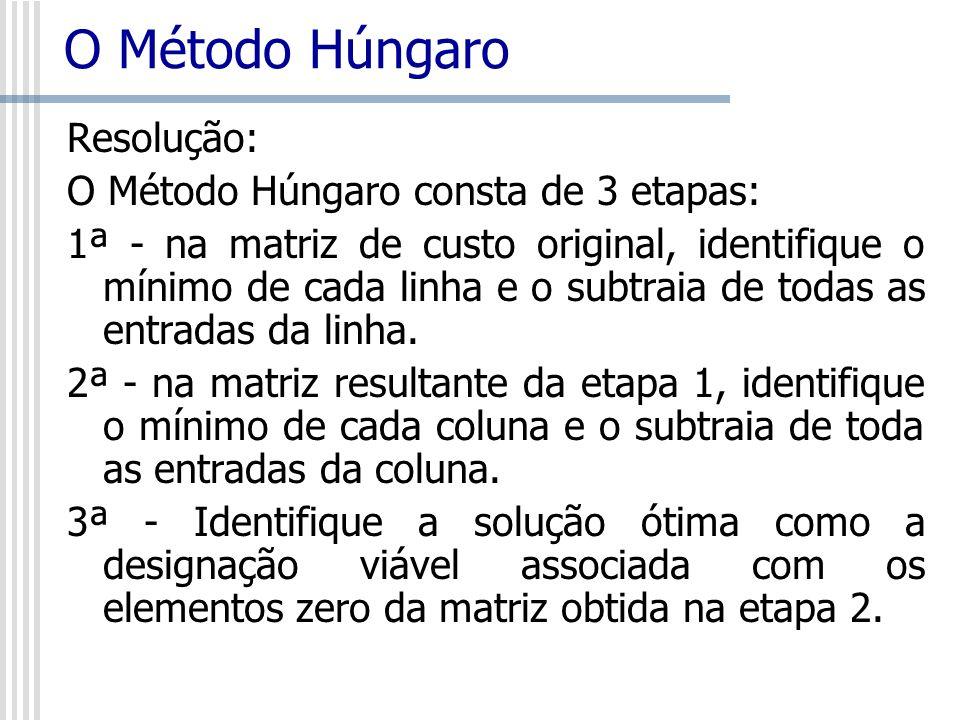 O Método Húngaro Resolução: O Método Húngaro consta de 3 etapas: 1ª - na matriz de custo original, identifique o mínimo de cada linha e o subtraia de