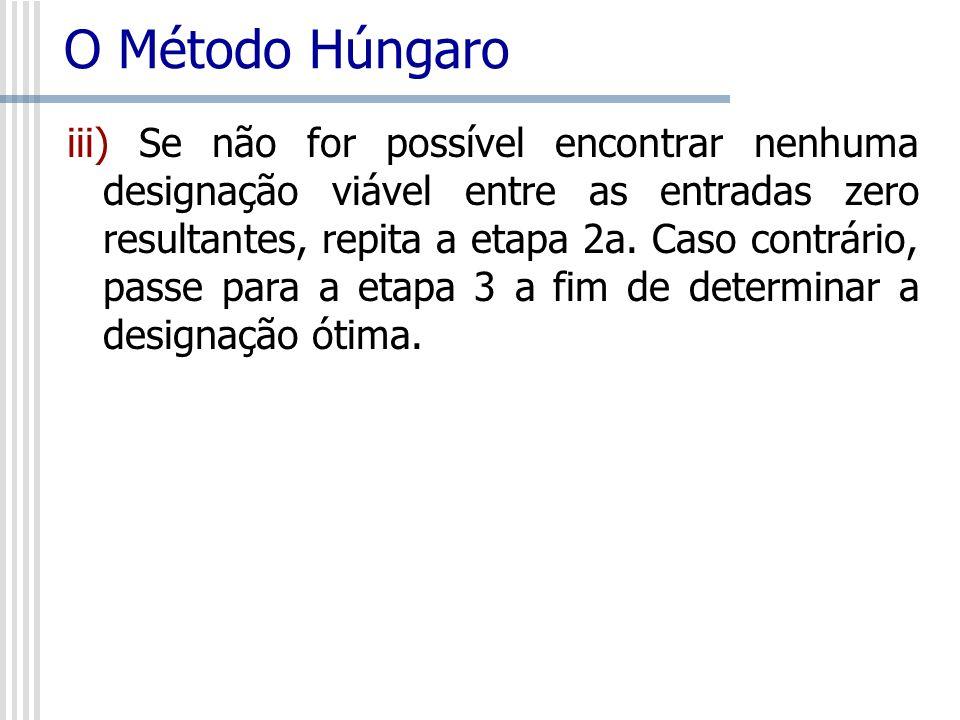 O Método Húngaro iii) Se não for possível encontrar nenhuma designação viável entre as entradas zero resultantes, repita a etapa 2a. Caso contrário, p