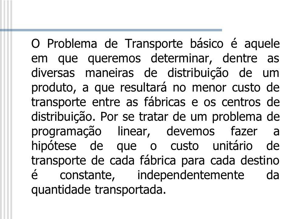 O Problema de Transporte básico é aquele em que queremos determinar, dentre as diversas maneiras de distribuição de um produto, a que resultará no men