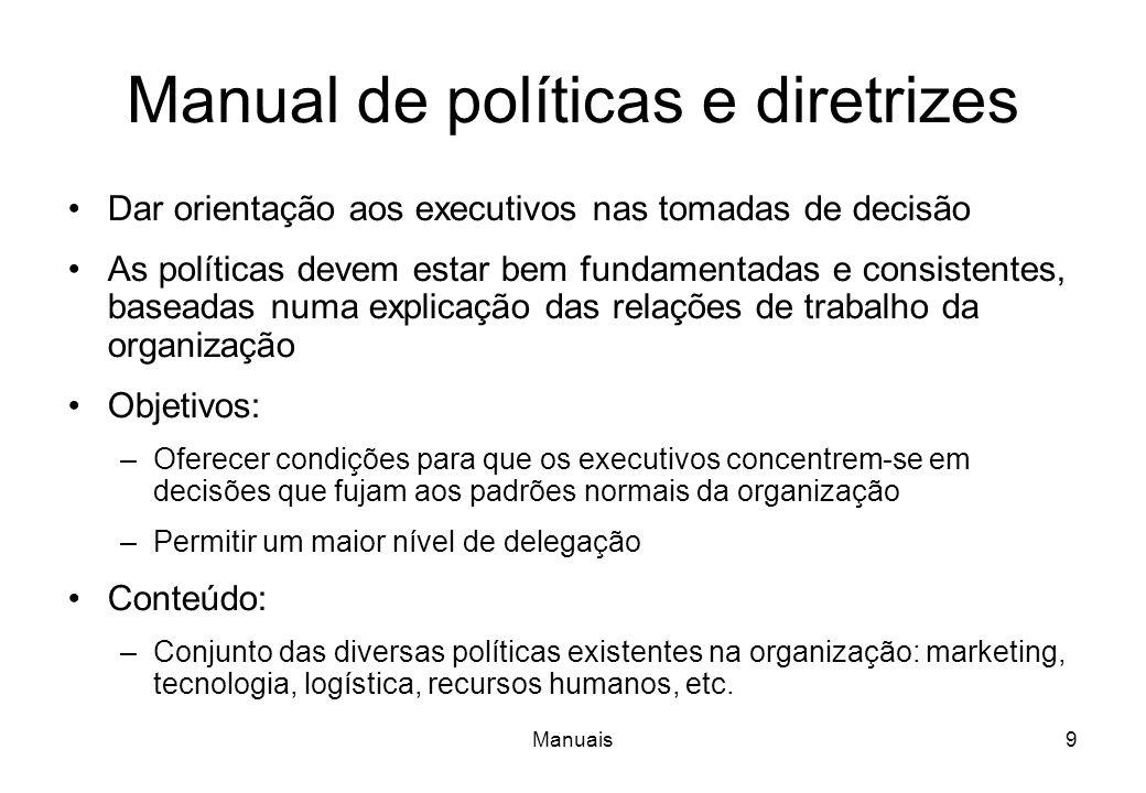 Manuais8 Manual de organização (funções) Caracteriza os aspectos formais das relações entre as diferentes unidades organizacionais Define os deveres e
