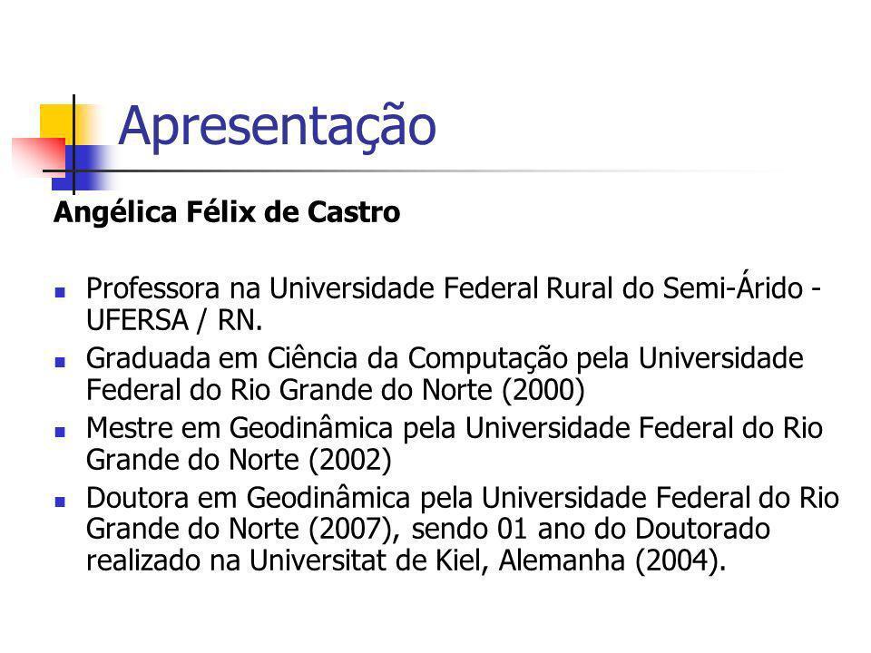 Apresentação Angélica Félix de Castro Professora na Universidade Federal Rural do Semi-Árido - UFERSA / RN. Graduada em Ciência da Computação pela Uni
