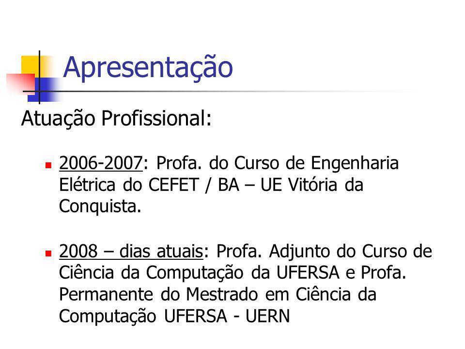 Apresentação Atuação Profissional: 2006-2007: Profa. do Curso de Engenharia Elétrica do CEFET / BA – UE Vitória da Conquista. 2008 – dias atuais: Prof