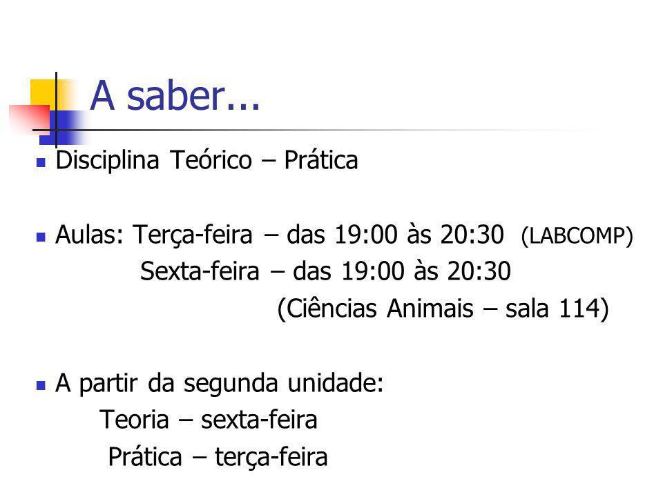 A saber... Disciplina Teórico – Prática Aulas: Terça-feira – das 19:00 às 20:30 (LABCOMP) Sexta-feira – das 19:00 às 20:30 (Ciências Animais – sala 11