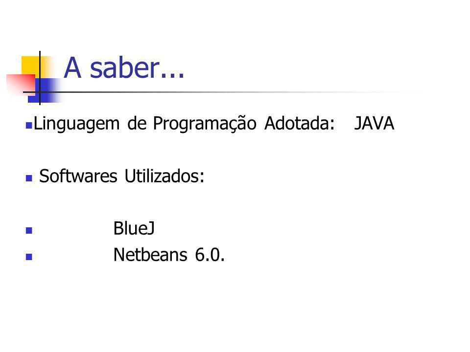 A saber... Linguagem de Programação Adotada: JAVA Softwares Utilizados: BlueJ Netbeans 6.0.
