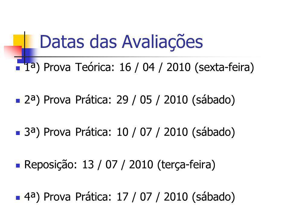Datas das Avaliações 1ª) Prova Teórica: 16 / 04 / 2010 (sexta-feira) 2ª) Prova Prática: 29 / 05 / 2010 (sábado) 3ª) Prova Prática: 10 / 07 / 2010 (sáb