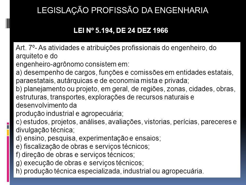 LEGISLAÇÃO PROFISSÃO DA ENGENHARIA LEI Nº 5.194, DE 24 DEZ 1966 Art. 7º- As atividades e atribuições profissionais do engenheiro, do arquiteto e do en