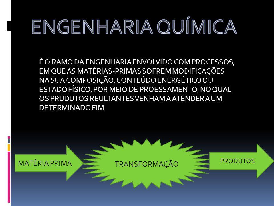 É O RAMO DA ENGENHARIA ENVOLVIDO COM PROCESSOS, EM QUE AS MATÉRIAS-PRIMAS SOFREM MODIFICAÇÕES NA SUA COMPOSIÇÃO, CONTEÚDO ENERGÉTICO OU ESTADO FÍSICO,