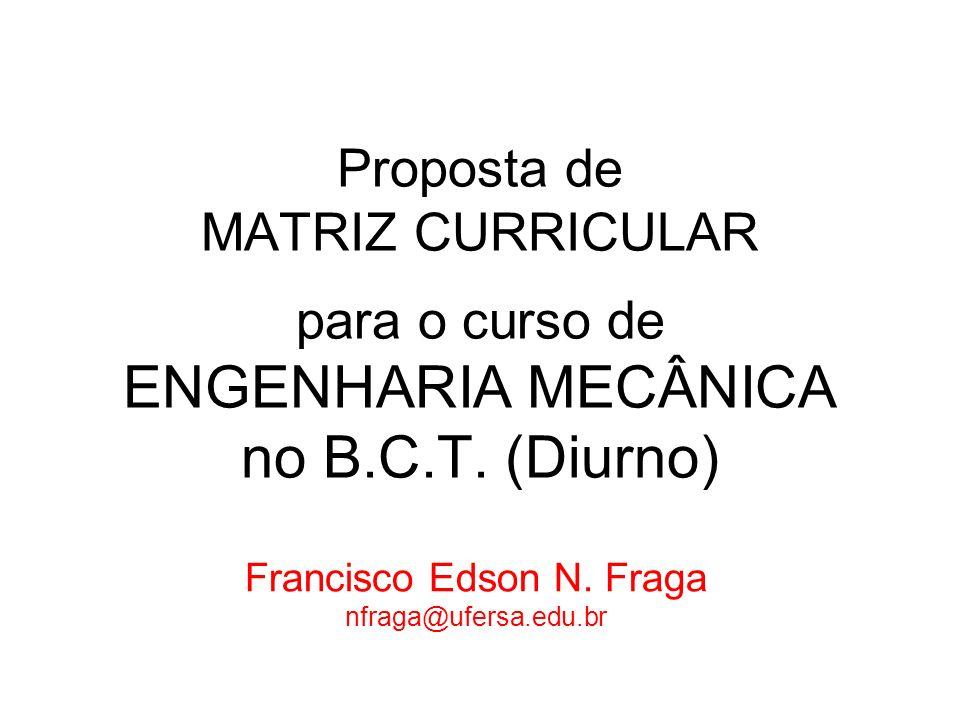 Proposta de MATRIZ CURRICULAR para o curso de ENGENHARIA MECÂNICA no B.C.T. (Diurno) Francisco Edson N. Fraga nfraga@ufersa.edu.br
