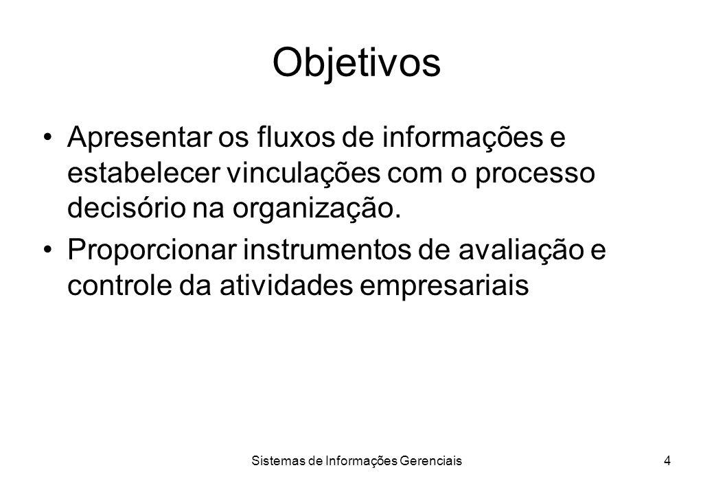 Sistemas de Informações Gerenciais3 Definição Sistema de informa ç ões é o processo de transforma ç ão de dados em informa ç ões. Quando esse processo