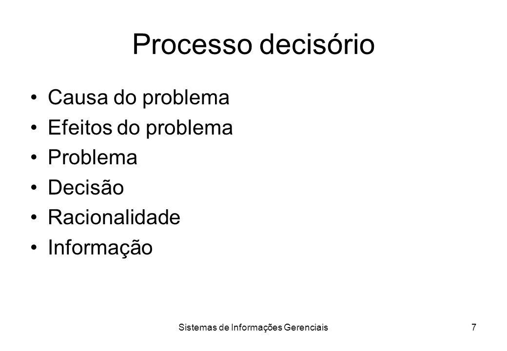 Sistemas de Informações Gerenciais6 Aspectos das decisões Identificação do problema Análise do problema Estabelecimento de alternativas Análise e sele