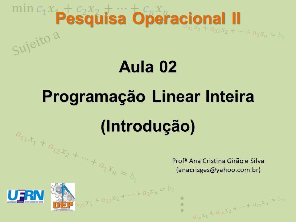 Aula 02 Programação Linear Inteira (Introdução) Profª Ana Cristina Girão e Silva (anacrisges@yahoo.com.br) Pesquisa Operacional II
