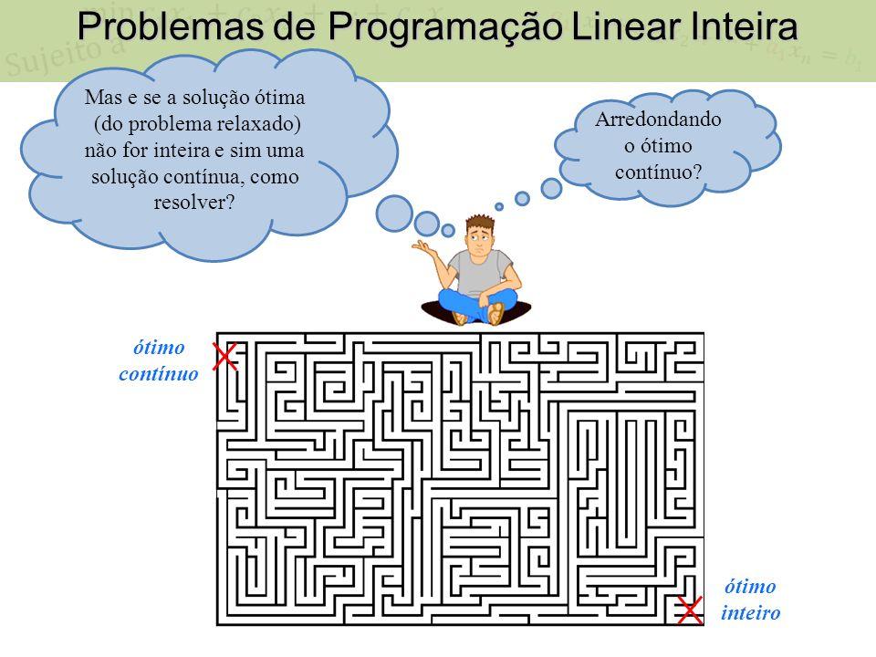 Problemas de Programação Linear Inteira ótimo contínuo Mas e se a solução ótima (do problema relaxado) não for inteira e sim uma solução contínua, como resolver.