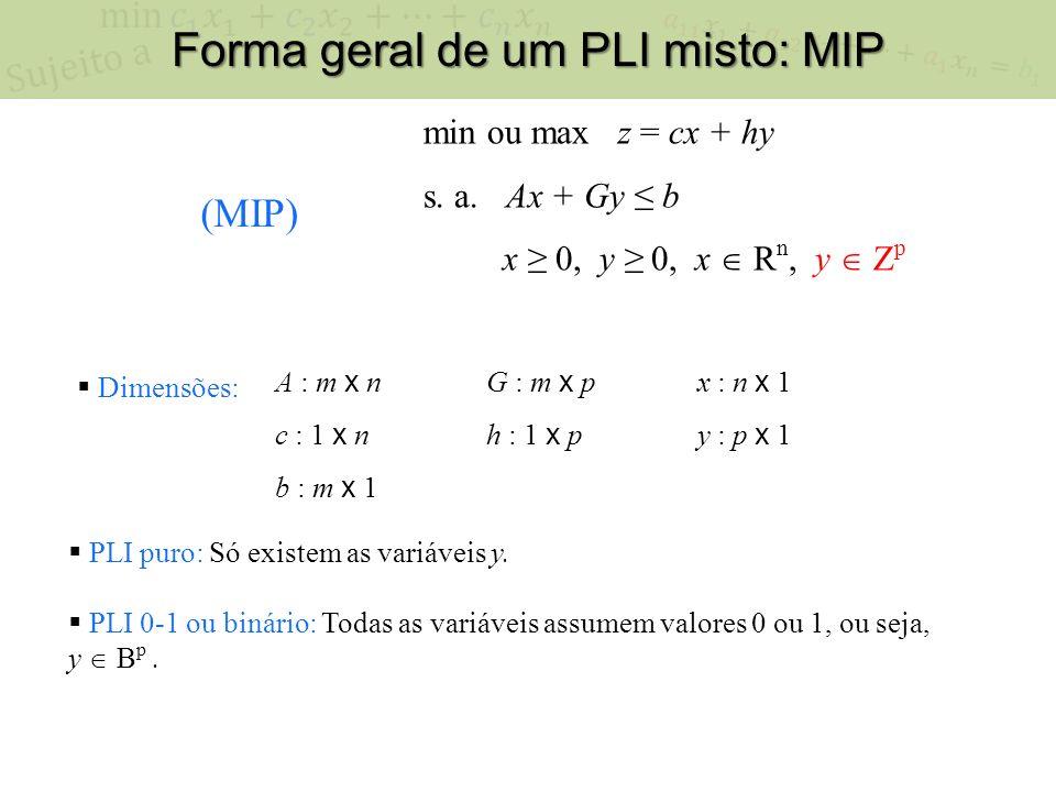 Forma geral de um PLI misto: MIP min ou max z = cx + hy s.