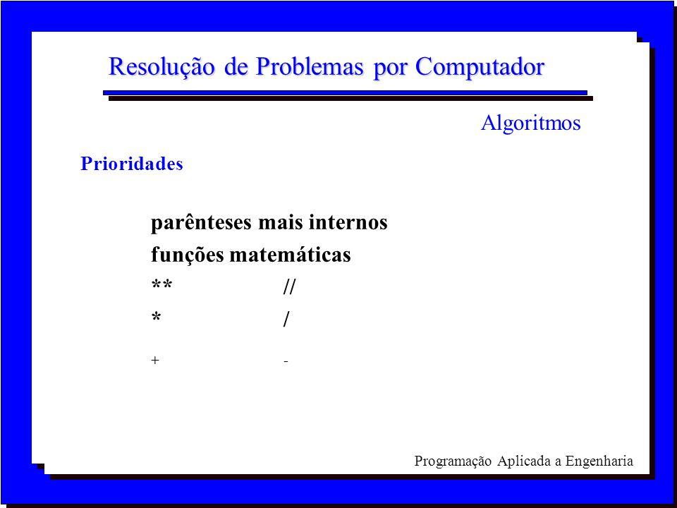 Programação Aplicada a Engenharia Resolução de Problemas por Computador Prioridades parênteses mais internos funções matemáticas **// */ +- Algoritmos