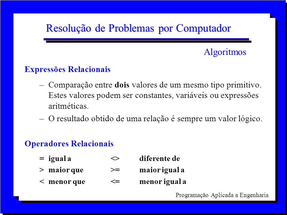 Programação Aplicada a Engenharia Resolução de Problemas por Computador Expressões Relacionais –Comparação entre dois valores de um mesmo tipo primiti