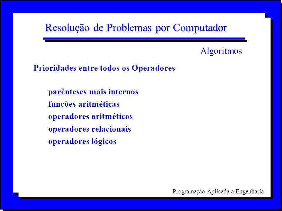 Programação Aplicada a Engenharia Resolução de Problemas por Computador Prioridades entre todos os Operadores parênteses mais internos funções aritmét