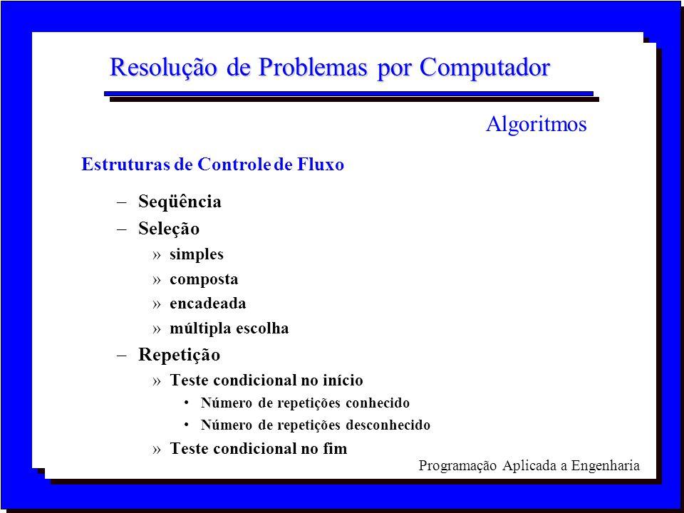 Programação Aplicada a Engenharia Resolução de Problemas por Computador Estruturas de Controle de Fluxo –Seqüência –Seleção »simples »composta »encade