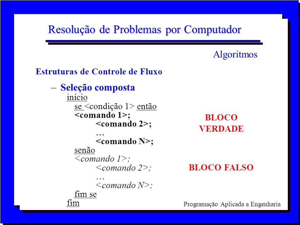 Programação Aplicada a Engenharia Resolução de Problemas por Computador Estruturas de Controle de Fluxo –Seleção composta início se então ; ; senão ;