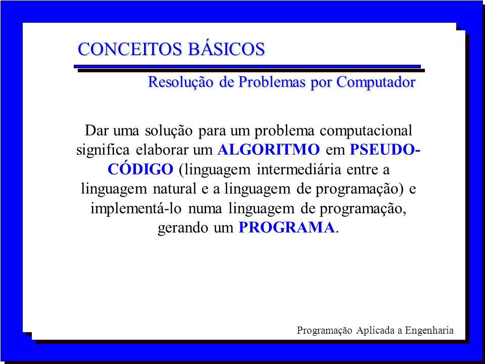 Programação Aplicada a Engenharia Dar uma solução para um problema computacional significa elaborar um ALGORITMO em PSEUDO- CÓDIGO (linguagem intermed