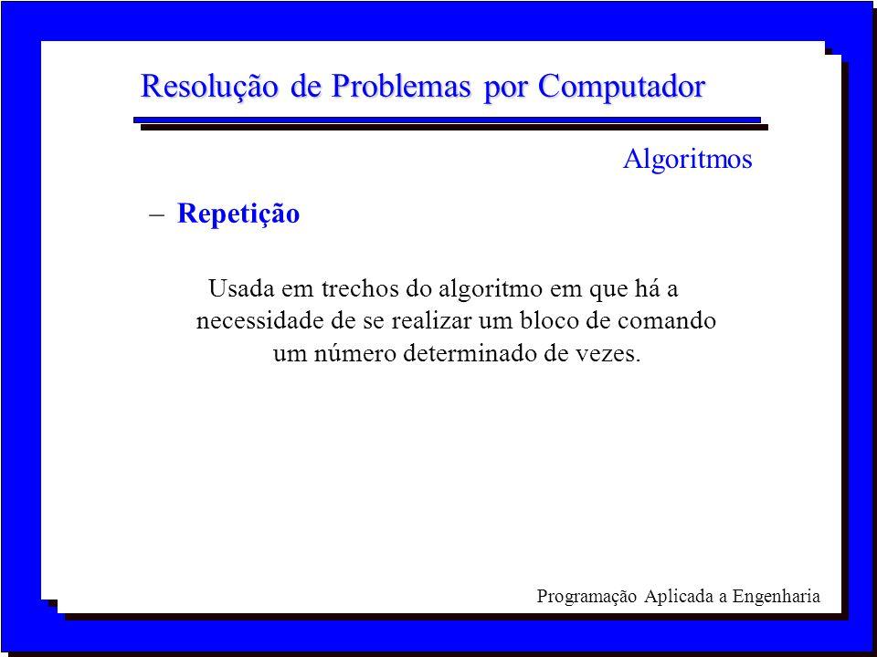 Programação Aplicada a Engenharia Resolução de Problemas por Computador –Repetição Usada em trechos do algoritmo em que há a necessidade de se realiza