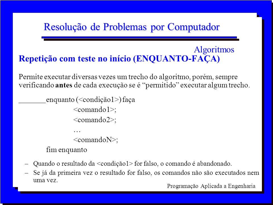 Programação Aplicada a Engenharia Resolução de Problemas por Computador Repetição com teste no início (ENQUANTO-FAÇA) Permite executar diversas vezes