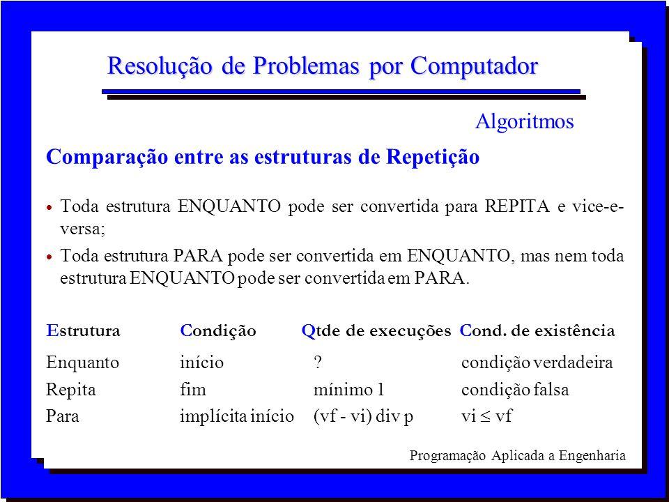 Programação Aplicada a Engenharia Resolução de Problemas por Computador Comparação entre as estruturas de Repetição Toda estrutura ENQUANTO pode ser c
