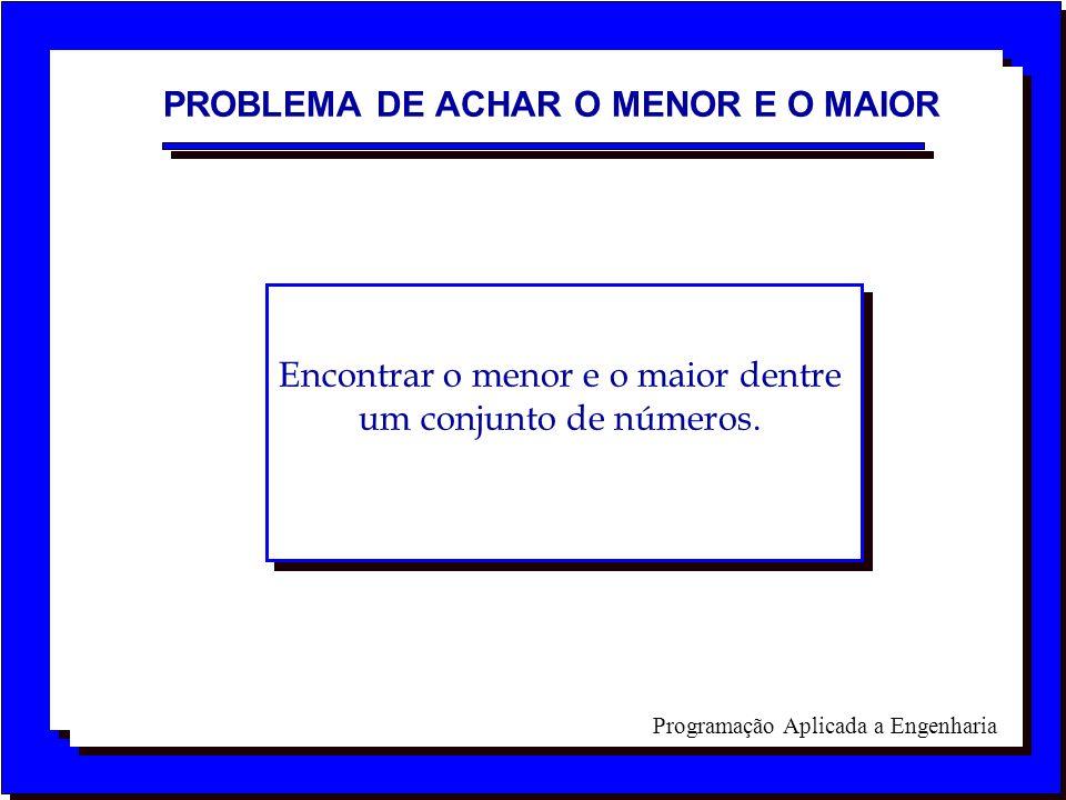 Programação Aplicada a Engenharia PROBLEMA DE ACHAR O MENOR E O MAIOR Encontrar o menor e o maior dentre um conjunto de números.