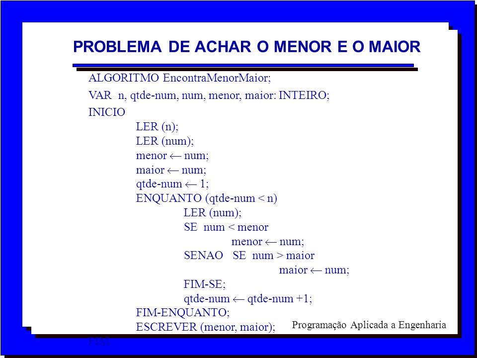 Programação Aplicada a Engenharia ALGORITMO EncontraMenorMaior; VAR n, qtde-num, num, menor, maior: INTEIRO; INICIO LER (n); LER (num); menor num; mai