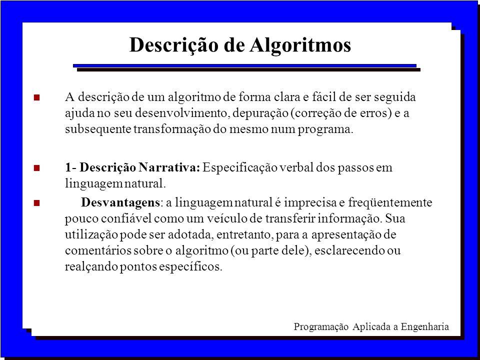 Programação Aplicada a Engenharia n A descrição de um algoritmo de forma clara e fácil de ser seguida ajuda no seu desenvolvimento, depuração (correçã