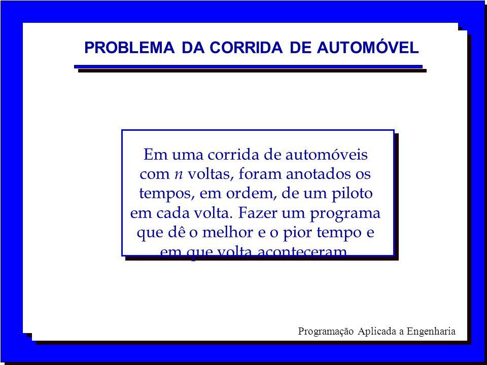 Programação Aplicada a Engenharia PROBLEMA DA CORRIDA DE AUTOMÓVEL Em uma corrida de automóveis com n voltas, foram anotados os tempos, em ordem, de u