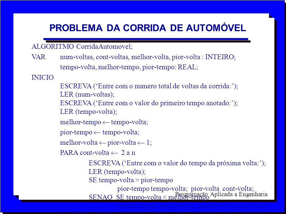 Programação Aplicada a Engenharia ALGORITMO CorridaAutomovel; VAR num-voltas, cont-voltas, melhor-volta, pior-volta : INTEIRO; tempo-volta, melhor-tem